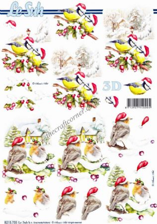 Robin & Blue Tit Wearing Santa Hats 3D Decoupage Sheet From Le Suh